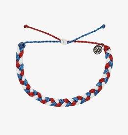 PuraVida Pura Vida, Braided Bracelet, Red White Blue
