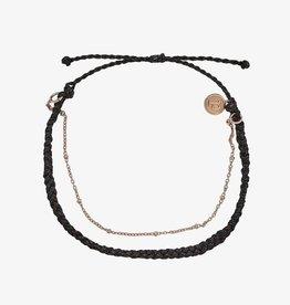 PuraVida Pura Vida, Satelite Chain Rose Gold Anklet, Black