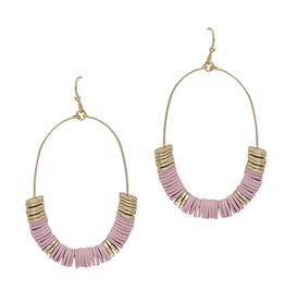 """What's Hot Seredipity Earrings, Lilac Pink Rubber 2"""" Oval"""