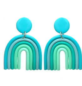 """What's Hot Serendipity Earrings, Polymer Clay Blue Rainbow 2"""""""