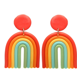 """What's Hot Serendipity Earrings, Polymer Clay Classic Rainbow 2"""""""