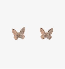 PuraVida Butterfly In Flight Earrings, Rose Gold