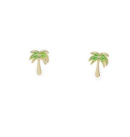 PuraVida Paradise Palm Stud Earring, Gold
