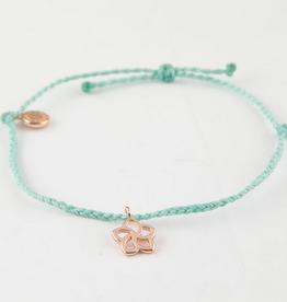 PuraVida PuraVida Rose Gold Plumeria Braid Bracelet, Seafoam