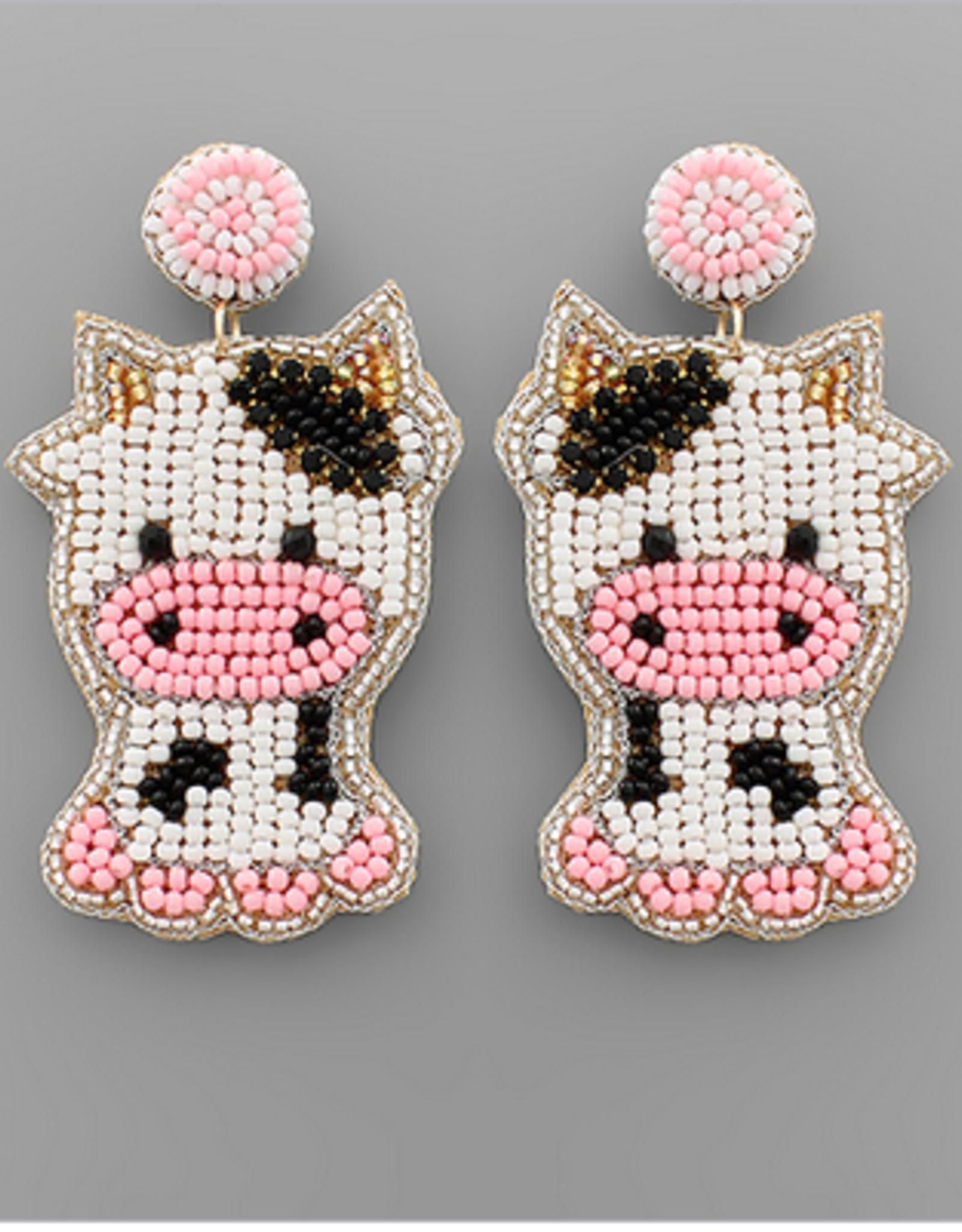Golden Stella Beaded Cow Earrings, White