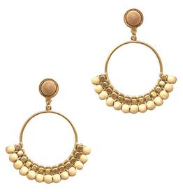 Golden Stella Circle Wood Bead Earrings, Ivory