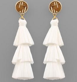 Golden Stella 3 Layer Raffia Tassel Earrings, White