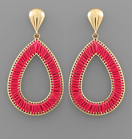 Golden Stella Fuchsia Threaded Teardrop Earrings