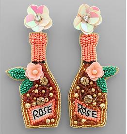 Golden Stella Floral Rose Bottle Bead Earrings, Gold