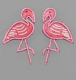 Golden Stella Pink Flamingo Bead Earrings