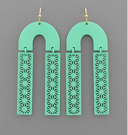 Golden Stella Color Arch & Filigree Bar Earrings, Mint