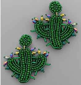 Golden Stella Cactus Bead Earrings, Green