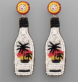 Golden Stella Rum Bead Earrings, White Multi