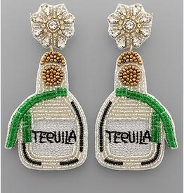 Golden Stella Silver Tequila Bottle Bead Earring
