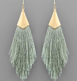 Golden Stella Capped Tassel Earrings, Dark Moss