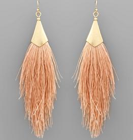Golden Stella Capped Tassel Earrings, Light Pink