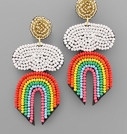Golden Stella Rainbow & Cloud Bead Earrings
