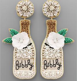 Golden Stella Bubbly Champagne Bead Earrings, White