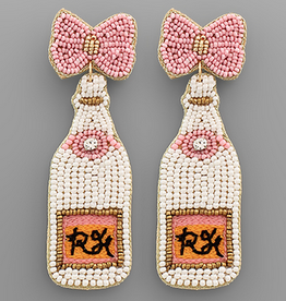Golden Stella Ribbon & Champagne Bead Earrings, White