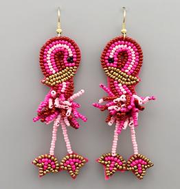 Golden Stella Flamingo Beaded Dangle Earrings, Fuchsia