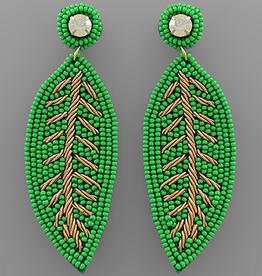Golden Stella Leaf Beaded Earrings, Green