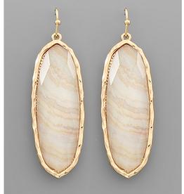 Golden Stella Oval Acrylic Earrings, Light Beige