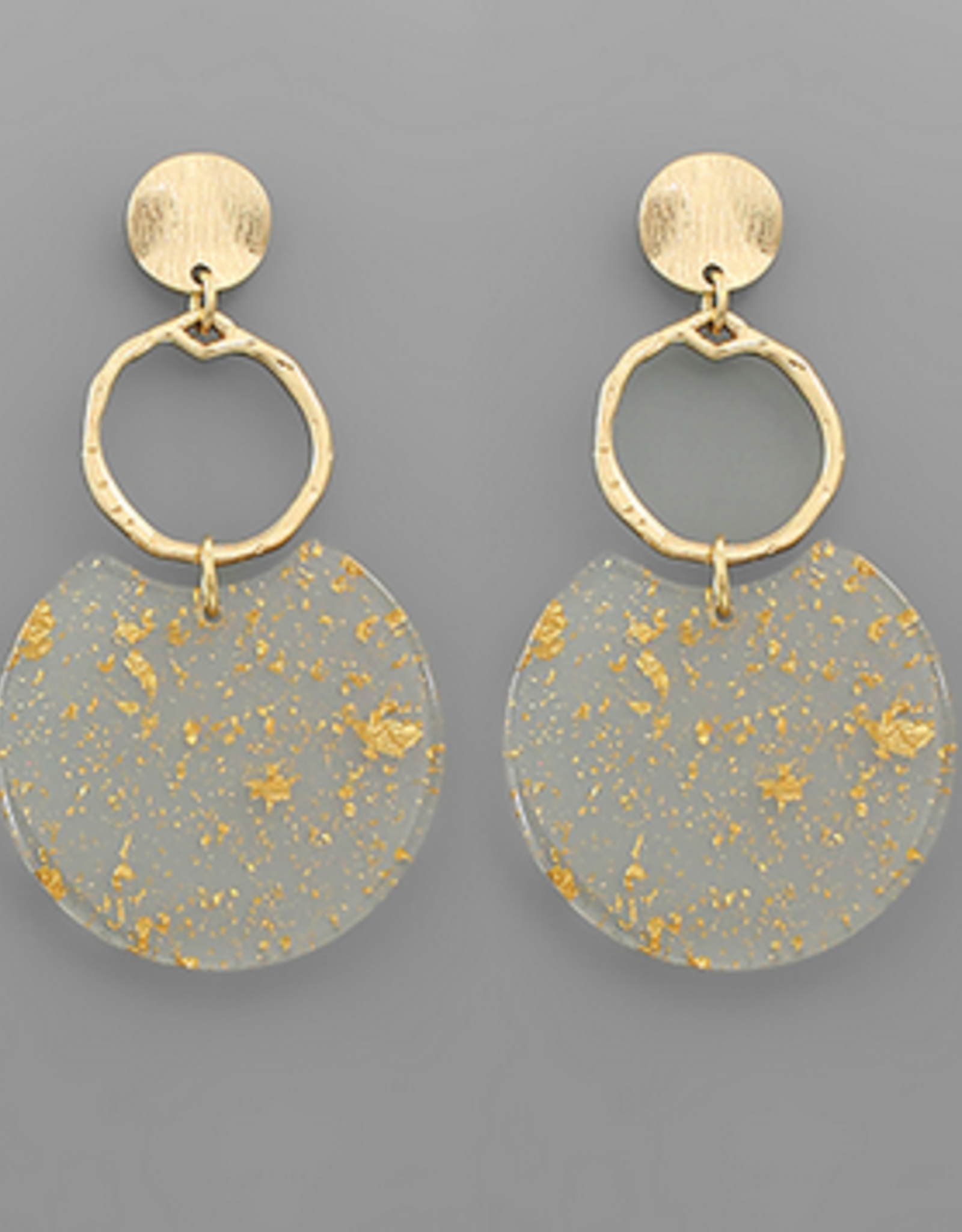 Golden Stella Acrylic Flake Disc Earrings, Gold