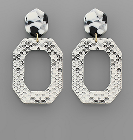 Golden Stella Snake Print Octagon Leather Earring