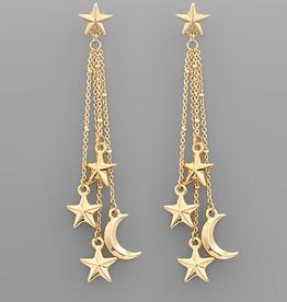 Golden Stella Star & Moon Stud Dangle Earrings, Gold