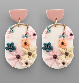 Golden Stella Polymer Clay Flower Oval Earrings