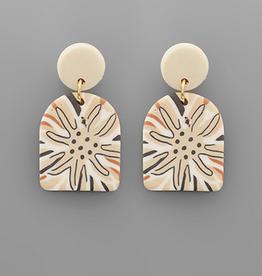 Golden Stella Polymer Clay Geometric Flower Print Earrings