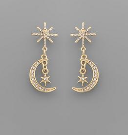 Golden Stella Starbust & Moon Earrings, Gold