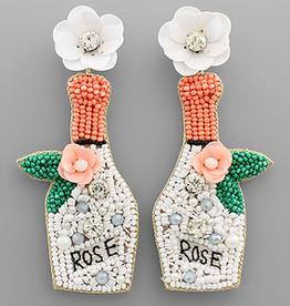 Golden Stella Floral Rose Bottle Bead Earrings, White