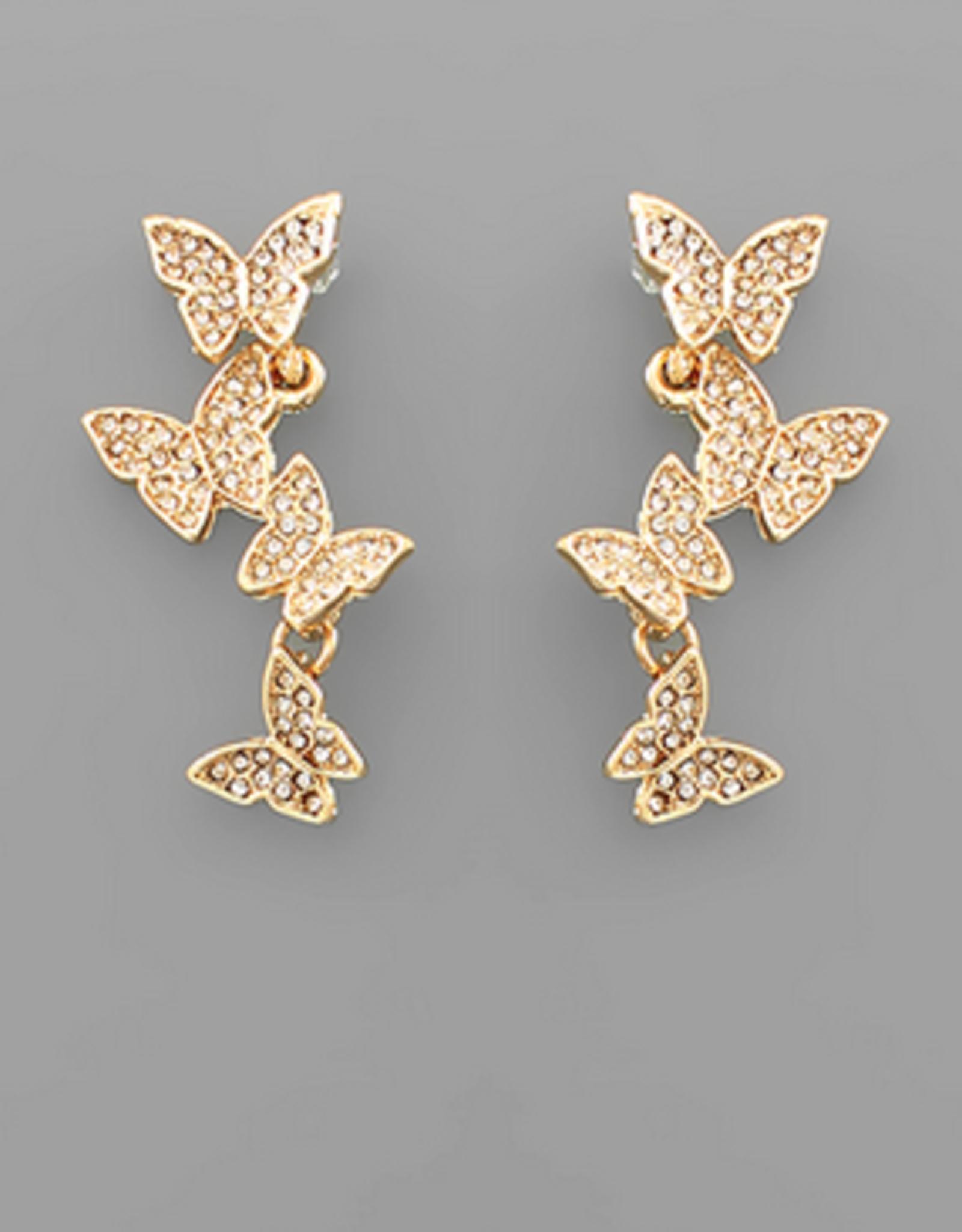 Golden Stella 4 Crystal Butterfly Stud Drop Earrings, Gold