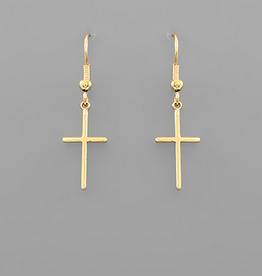 Golden Stella Simple Cross Dangle Earrings, Gold