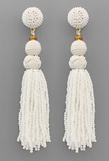 Golden Stella Ball & Bead Tassel Earrings, White
