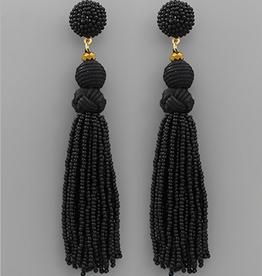 Golden Stella Ball & Bead Tassel Earrings, Black