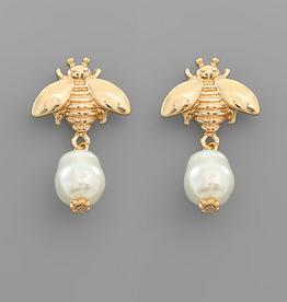 Golden Stella Gold Bee & Pearl Stud Earrings