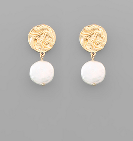 Golden Stella Coin Pearl & Crumpled Disc Stud Earrings, Gold