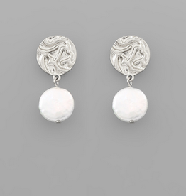 Golden Stella Coin Pearl & Crumpled Disc Stud Earrings, Silver