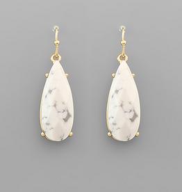 Golden Stella Teardrop Stone Dangle Earrings, Howlite