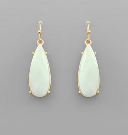 Golden Stella Teardrop Stone Dangle Earrings, Amazonite
