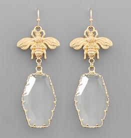 Golden Stella Gold Bee & Hexagon Earrings