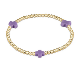 ENEWTON ENEWTON, Signature Cross Gold, 3mm Bead Bracelet, Purple