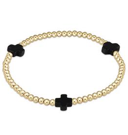 ENEWTON ENEWTON, Signature Cross Gold, 3mm Bead Bracelet, Gold Onyx