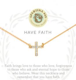 """Spartina 449 Spartina 449, SLV Necklace 18"""", Have Faith/Cross"""