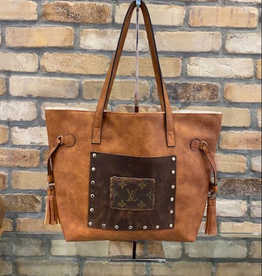 Patches of Upcycling Louis Vuitton Pocket Tote, Cognac