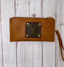 Patches of Upcycling Louis Vuitton Patch Wallet Wristlet, Cognac