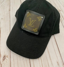 Patches of Upcycling Louis Vuitton Hat, Black