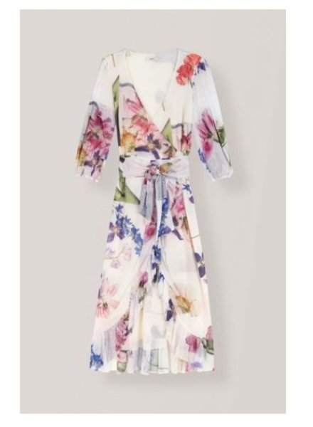 Ganni Printed Mesh Wrap Dress